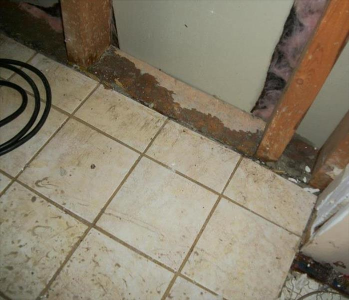 Water damage affected area